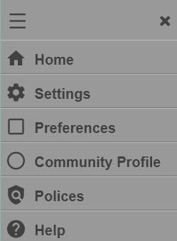 Collapsed view of account settings menu